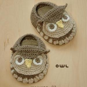 Owl Baby Booties Crochet PATTERN (p..
