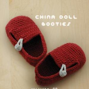 China Doll Baby Booties Crochet PAT..