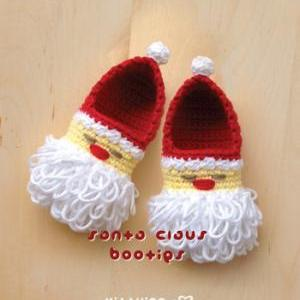 Santa Claus Baby Booties Crochet PA..