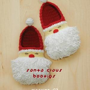 Santa Claus Toddler Booties Crochet..