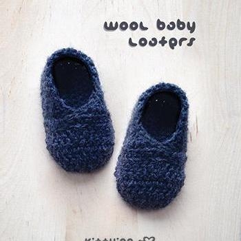 Crochet Pattern Wool Baby Loafers N..