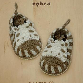 Crochet Pattern Zebra Baby Booties Zebra Preemie Socks Animal