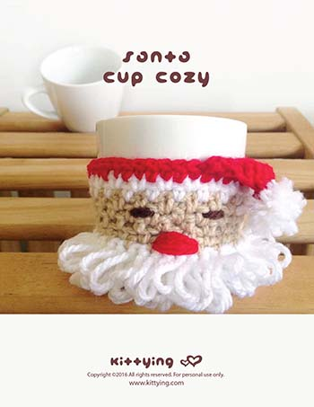 Crochet Pattern - Santa Claus Fruit Wrapper Cup Cozy Pattern for Christmas Winter Holiday Santa Mug Cozy Winter Warmer Red White Beige