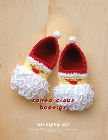 0502d40c6 FREE SHIPPING. Santa Claus Baby Booties Crochet PATTERN for Christmas  Holiday by Kittying