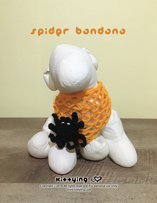 Halloween 3D Spider Bandana Crochet Pattern for Dog. Halloween puppy costume crochet patterns, digital download. Crochet dog bandana, dog bandana pattern with 3d spider on a spider web