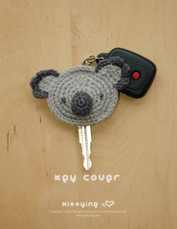 Crochet PATTERN Koala Key Cover - Chart & Written Pattern by Kittying