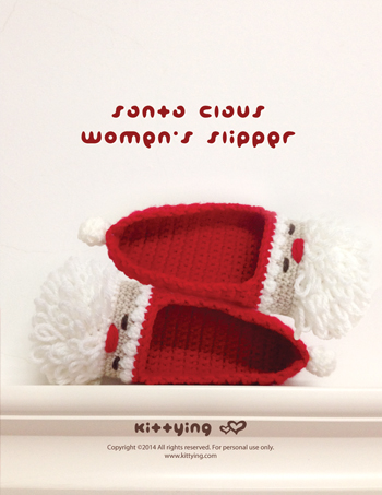 Santa Claus Women's Slipper Crochet PATTERN for Christmas Holiday by Kittying