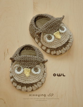 Crochet Pattern Owl Baby Booties Owl Preemie Socks Animal Shoes