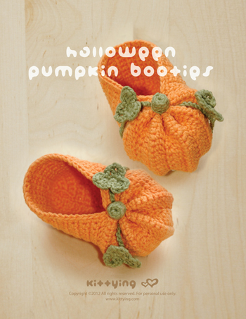 Crochet Pattern - Halloween Pumpkins Baby Booties Preemie Socks Newborn Shoes Baby Slippers Halloween Pumpkins Crochet Pattern (HPB01-P-PAT)