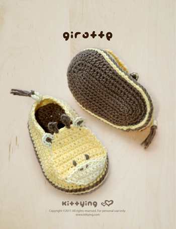 Giraffe Baby Booties Crochet Pattern Pdf By Kittying On Luulla