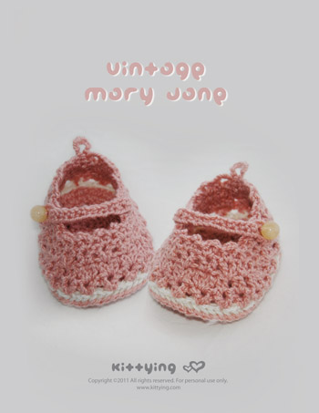 Vintage Mary Jane Baby Booties Crochet Pattern Symbol Diagram Pdf