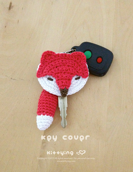 Fox Key Cover Crochet PATTERN - Chart & Written Pattern by Kittying Crochet Pattern