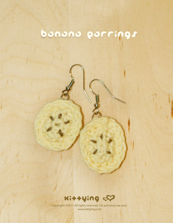 Crochet Banana Earrings PATTERN, SYMBOL DIAGRAM (pdf)