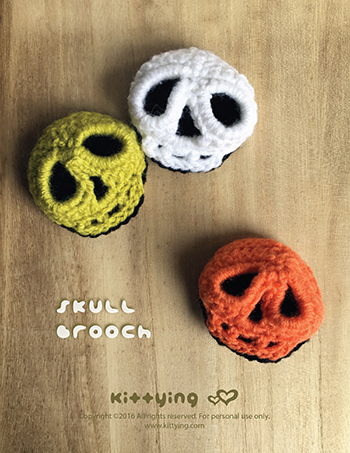 Halloween Crochet Pattern Skull Brooch Skull 3d Applique Skull