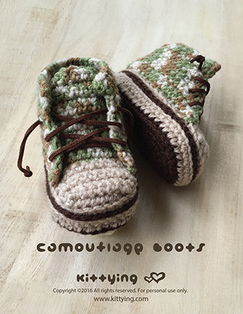 Crochet Pattern Baby Booties Camouflage Baby Boots Baby Sneakers