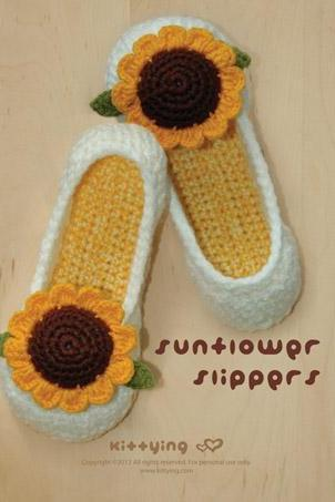 Sunflower Women's House Slipper Crochet Pattern - Women's sizes 5 - 10 - Chart & Written Pattern by kittying
