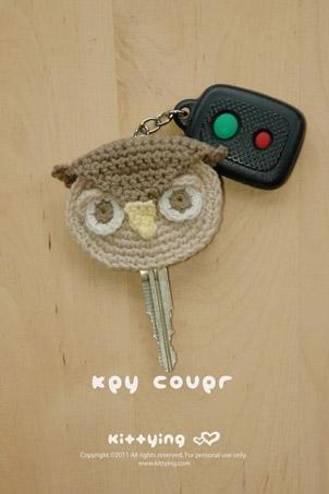 Owl Key Cover Crochet PATTERN - Chart & Written Pattern by Kittying