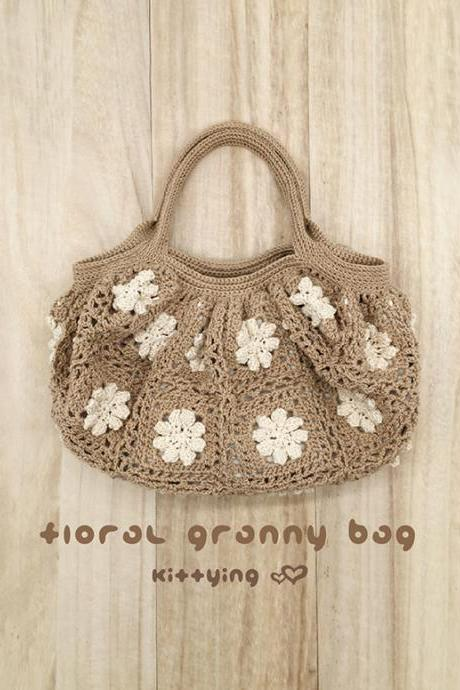 Crochet Pattern Floral Granny Bag Crochet Granny Square Handbag by Kittying Crochet Patterns for mother, grandmother and great grandmother - Chart & Written Pattern by Kittying