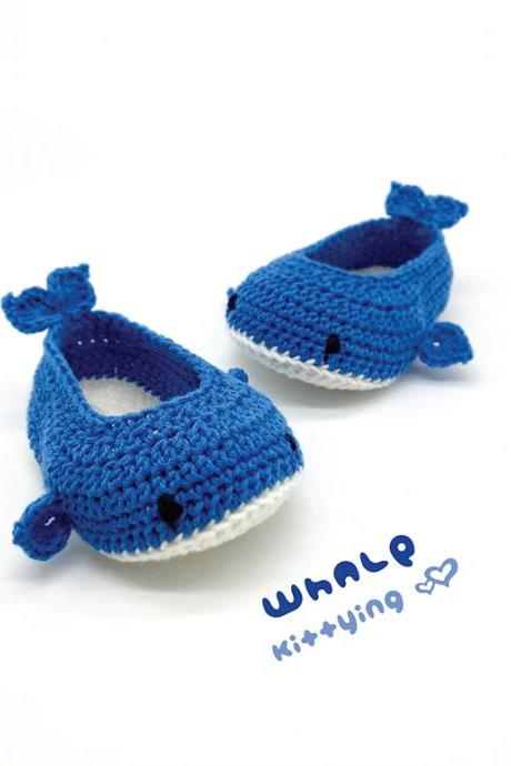 Whale Booties Crochet Pattern - Whale Crochet Baby Shoes, Slippers, Moccasins, Socks - Sea Creature Whale Baby Booties