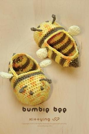 Crochet PATTERN Bumble Bee Baby Booties Crochet PATTERN, Chart & Written Pattern by kittying