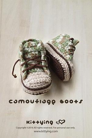 Crochet Pattern Baby Booties Camouflage Baby Boots Baby Sneakers Crochet Patterns Baby Shoes Crochet Booties Newborn Sneakers Newborn Boots All Stars Converse - Chart & Written Pattern