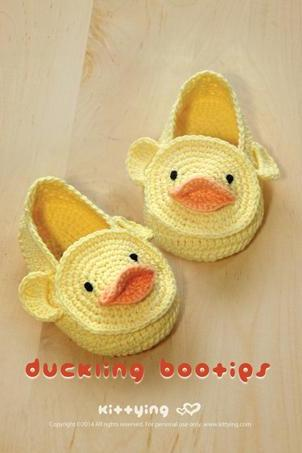 Duck Duckling Baby Booties Crochet PATTERN, Chart & Written Pattern by kittying