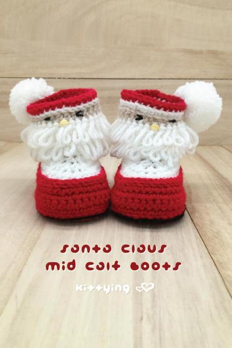 Santa Crochet Pattern - Mid Calf Boots - Santa Claus Costume for Christmas Holiday by Kittying - Newborn Baby Toddler