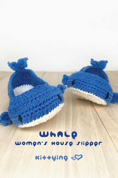 Whale Women's House Slipper Crochet Pattern - Women's sizes 5 - 12 - Chart & Written Pattern by kittying