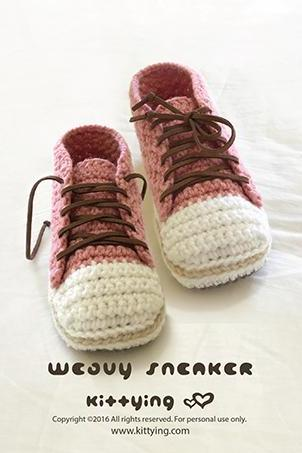Crochet Pattern Sneakers Woman Sneaker Patterns Lady Sneakers Adult Home Slipper Female Sneaker Shoes Women Crochet Shoes Women sizes 5 6 7 8 9 10 Pink