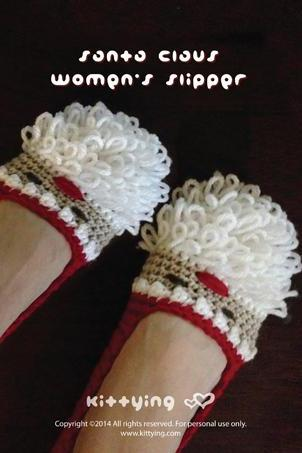 Crochet Pattern Santa Claus Women's Slipper for Christmas Holiday by Kittying Crochet Pattern