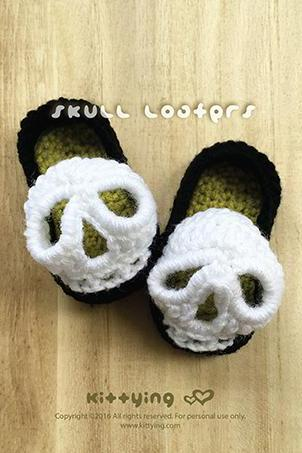 Halloween Crochet Pattern Skull Baby Booties Skull Baby Loafers Skull Preemie Socks Skull Applique Skull Baby Slippers Crochet Pattern Skull Baby Shoes 3D Skull Crochet Applique by kittying.com from mulu.us