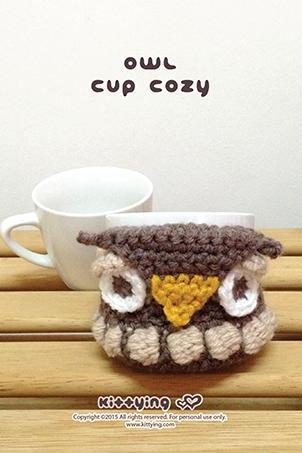 Crochet Pattern Owl Coffee warmer Owl Tea Mug cover Owl Mug holder Owl Coffee cozy Owl Apple cozy Owl Apple protector Owl Crochet Applique