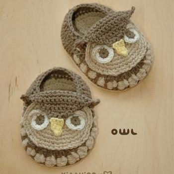 Crochet Pattern - Owl Baby Booties Owl Preemie Socks Animal Shoes Owl Applique Owl Baby Slippers Crochet Pattern