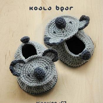Koala Bear Baby Booties Crochet PATTERN (Pdf)