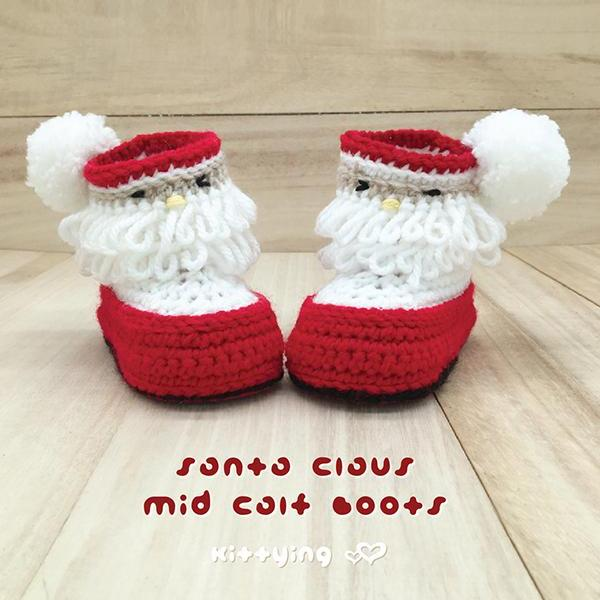 Santa Claus Mid Calf Boots Crochet PATTERN for Christmas Holiday by Kittying - Newborn Baby Toddler