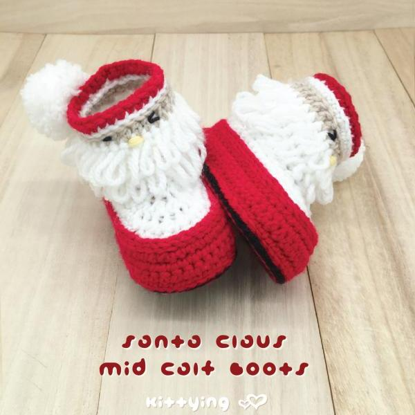 Baby Boots Crochet PATTERN - Newborn Baby Booties Crochet Pattern - Santa Mid Calf Toddler Shoes - Christmas Holiday by Kittying