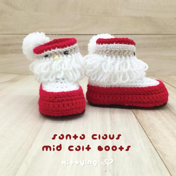 Santa Claus Baby Booties Crochet PATTERN for Christmas Holiday by Kittying - Newborn Baby Toddler - Crochet Mid Calf Boots