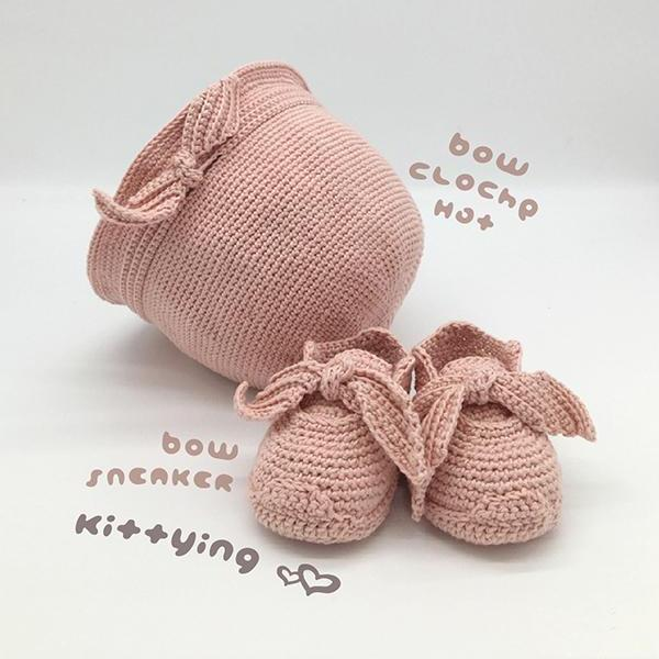 Crochet Pattern Baby Set - Baby Hat and Booties Crochet Pattern - Newborn Hat and Booties Crochet Pattern - Bow Cloche and Booties Baby Set by Kittying Crochet Pattern - Beanie, Cloche, Hat, Toque, Sneakers