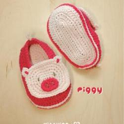 Piggy Baby Booties Crochet PATTERN, SYMBOL DIAGRAM (pdf) by kittying