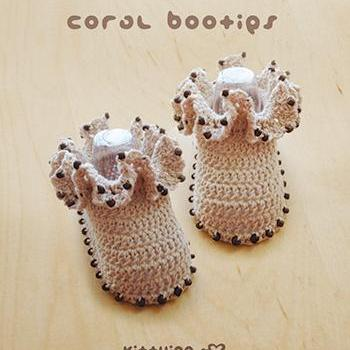 Crochet Coral Baby Booties Newborn Boots Preemie Shoes Crochet Pattern (CB03-M-PAT)