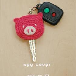 Crochet Pattern, Piggy Key Cover, Pig Applique, Pig Head, Pink Yarn Crochet, Key Accessories Pattern - SYMBOL DIAGRAM (pdf) by kittying (PK01-P-PAT)