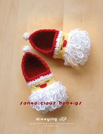 e87592109 Santa Claus Baby Booties Crochet PATTERN For Christmas Holiday By ...