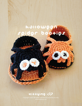 Halloween Crochet Pattern Spider Booties Spider Carefree Sandals